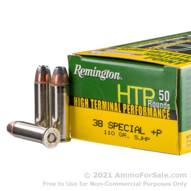 50 Rounds of 110gr SJHP .38 Spl +P Ammo by Remington