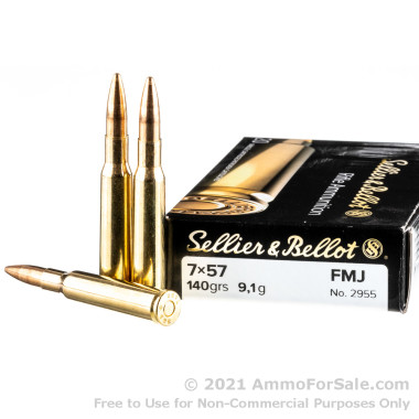 20 Rounds of 140gr FMJ 7x57mm Mauser Ammo by Sellier & Bellot