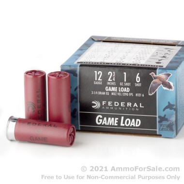 25 Rounds of 1 ounce #6 shot 12ga Ammo by Federal