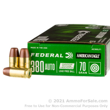 50 Rounds of 70gr Lead-Free FMJ .380 ACP Ammo by Federal