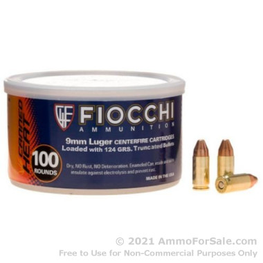100 Rounds of 124gr FMJTC 9mm Ammo by Fiocchi