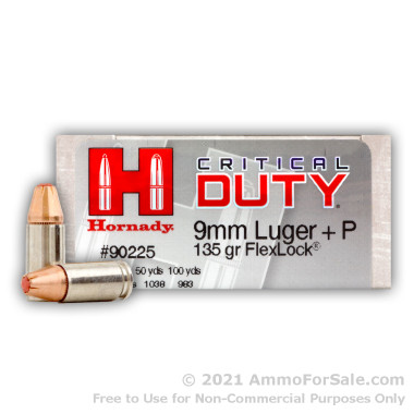 50 Rounds of 135gr JHP 9mm Ammo by Hornady