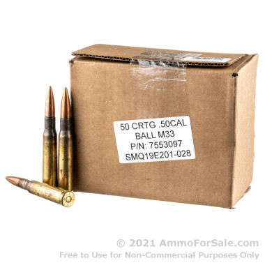 50 Rounds of 660gr FMJ M33 .50 BMG Ammo by Lake City