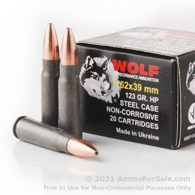 1000 Rounds of 123gr HP 7.62x39mm Ammo by Wolf Ukraine