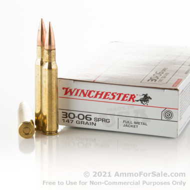 20 Rounds of 147gr FMJ 30-06 Springfield Ammo by Winchester