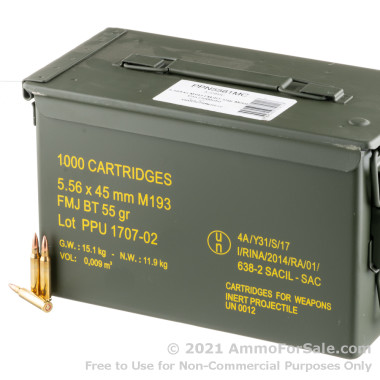 1000 Rounds of 55gr FMJBT 5.56x45 Ammo by Prvi Partizan in Ammo Can