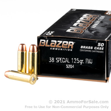 50 Rounds of 125gr FMJ .38 Spl Ammo by Blazer