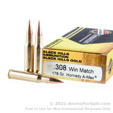 20 Rounds of 178gr Polymer Tipped .308 Win Ammo by Black Hills Gold Ammunition