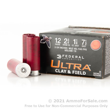 25 Rounds of 1 1/8 ounce #7 1/2 shot 12ga Ammo by Federal