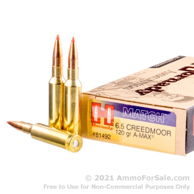 20 Rounds of 120gr Match A-MAX 6.5mm Creedmoor Ammo by Hornady