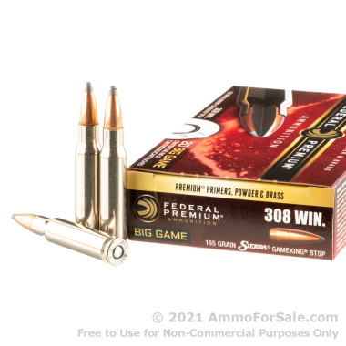 20 Rounds of 165gr SPBT .308 Win Ammo by Federal
