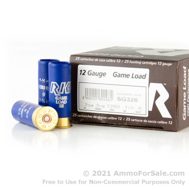 "25 Rounds of 2-3/4"" 1 1/8 ounce #6 shot 12ga Ammo by Rio Ammunition"