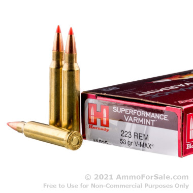 200 Rounds of 53gr Polymer Tipped .223 Ammo by Hornady Superformance Varmint