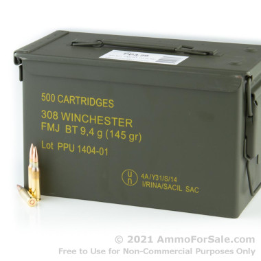 500 Rounds of 145gr FMJBT .308 Win Ammo in Ammo Can by Prvi Partizan
