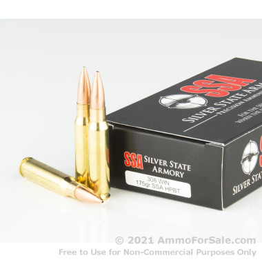 20 Rounds of 175gr Hollow Point Boat Tail .308 Win Ammo by Silver State Armory