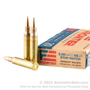 20 Rounds of 68gr BTHP Match 5.56x45 Ammo by Hornady