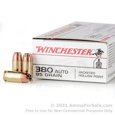 50 Rounds of 95gr JHP .380 ACP Ammo by Winchester