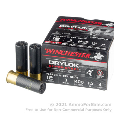 25 Rounds of 1 1/4 ounce #4 shot 12ga Ammo by Winchester Drylok Super Steel Magnum