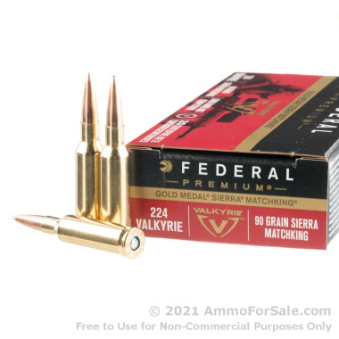 200 Rounds of 90gr Sierra MatchKing HPBT .224 Valkyrie Ammo by Federal