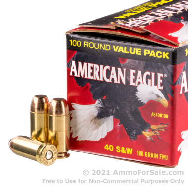 100 Rounds of 180gr FMJ .40 S&W Ammo by Federal