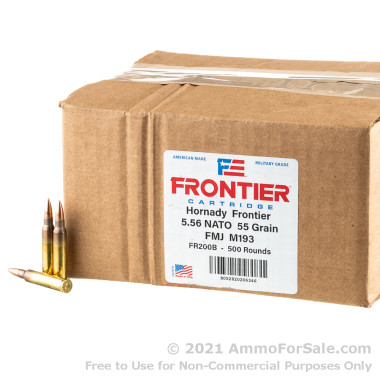 500 Rounds of 55gr FMJ M193 5.56x45 Ammo by Hornady