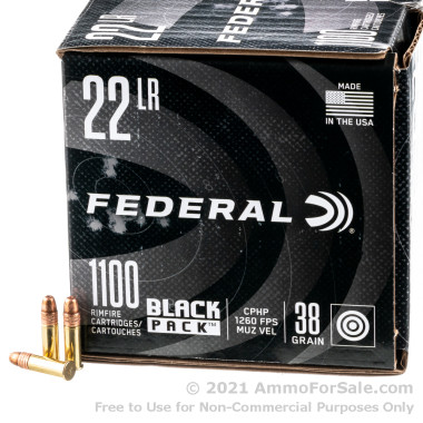 1100 Rounds of 38gr CPHP .22 LR Ammo by Federal