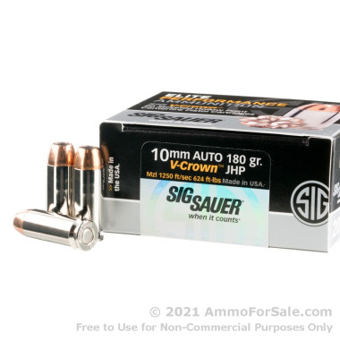 20 Rounds of 180gr JHP 10mm Ammo by SIG Sauer V-Crown