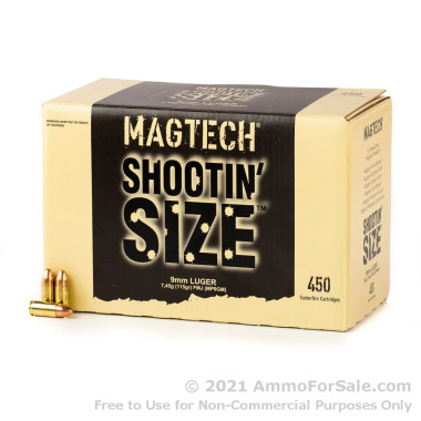 450 Rounds of 115gr FMJ 9mm Ammo by Magtech