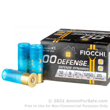 25 Rounds of 9 pellet 00 buckshot 12ga Ammo by Fiocchi