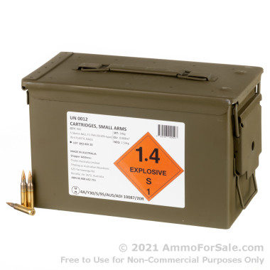 900 Rounds of 62gr FMJ F1 5.56x45 Ammo by Australian Defense Industries in Ammo Can