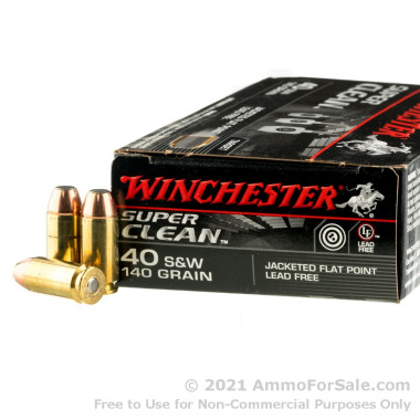 50 Rounds of 140gr FMJ .40 S&W Ammo by Winchester Super Clean
