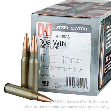 50 Rounds of 155gr HPBT .308 Win Ammo by Hornady