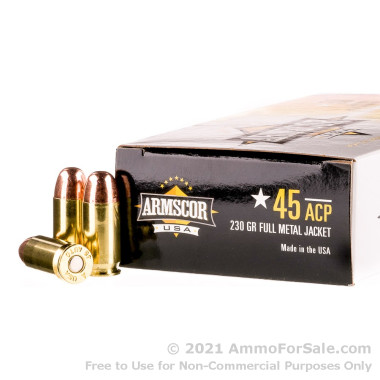 50 Rounds of 230gr FMJ .45 ACP Ammo by Armscor USA
