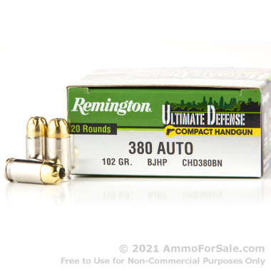 20 Rounds of 102gr JHP .380 ACP Ammo by Remington