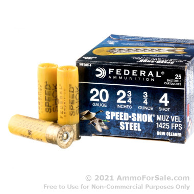 "25 Rounds of 2-3/4"" 3/4 ounce #4 shot 20ga Ammo by Federal Speed-Shok"