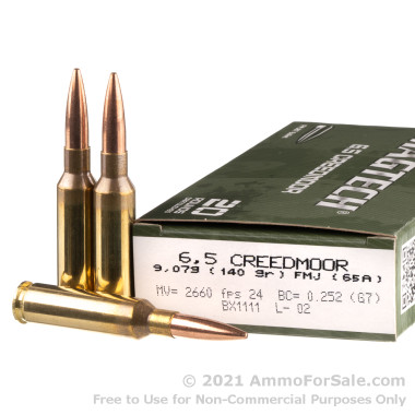 20 Rounds of 140gr FMJBT 6.5 Creedmoor Ammo by Magtech