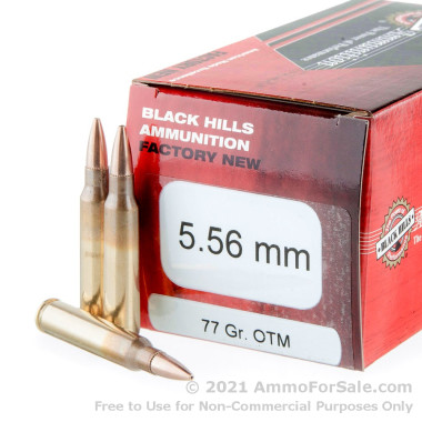 50 Rounds of 77gr OTM 5.56x45 Ammo by Black Hills Ammunition