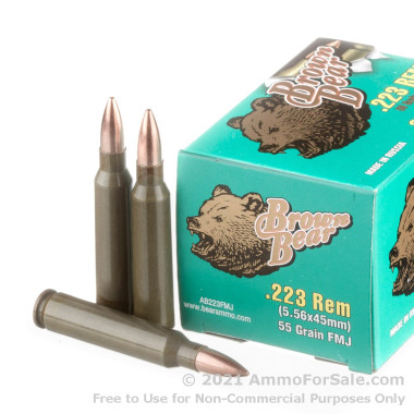 500  Rounds of 55gr FMJ .223 Ammo by Brown Bear