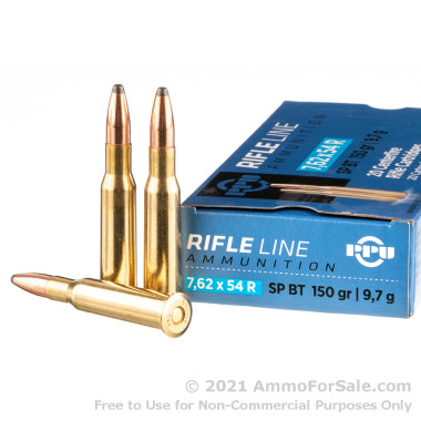 20 Rounds of 150gr SPBT 7.62x54r Ammo by Prvi Partizan