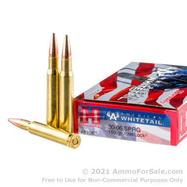 20 Rounds of 150gr SP 30-06 Springfield Ammo by Hornady