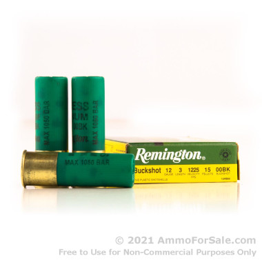 """250 Rounds of  00 Buck 12ga 3"""" Ammo by Remington"""