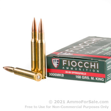 20 Rounds of 168gr Hollow Point Boat Tail 30-06 Springfield Ammo by Fiocchi