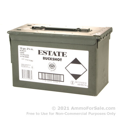 175 Rounds of  00 Buck 12ga Ammo by Estate Cartridge
