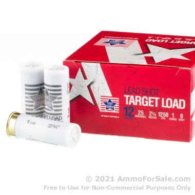 """250 Rounds of 2-3/4"""" 1 ounce #8 shot 12ga Ammo by Stars & Stripes"""