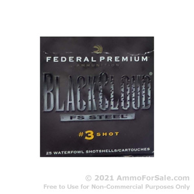 """25 Rounds of 2-3/4"""" 1 ounce #3 shot 12ga Ammo by Federal Black Cloud FS Steel"""