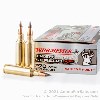 20 Rounds of 130gr Polymer Tipped 270 Win Short Mag Ammo by Winchester Deer Season XP
