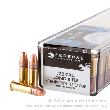 100 Rounds of 40gr LRN .22 LR Ammo by Federal