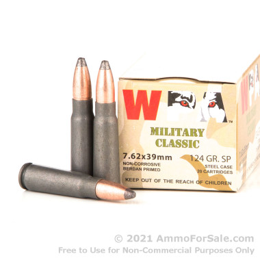 20 Rounds of 124gr SP 7.62x39mm Ammo by Wolf