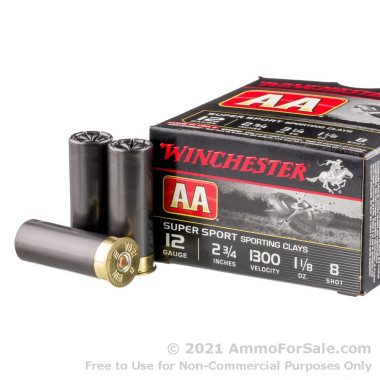 """250 Rounds of 2-3/4"""" 1-1/8 ounce #8 shot 12ga Ammo by Winchester AA Sporting Clays"""