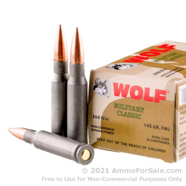 20 Rounds of 145gr FMJ .308 Win Ammo by Wolf
